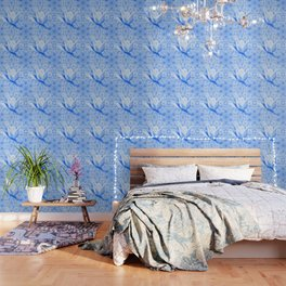 Abstract Bauhinia flower in blue Wallpaper