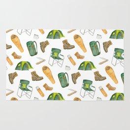 Watercolor camping pattern Rug