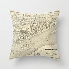Map of Harrisburg, Pennsylvania (1884) Throw Pillow