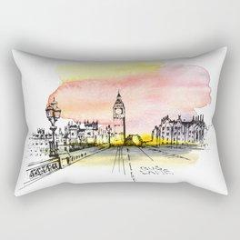 London, Big Ben. Watercolor and ink. Rectangular Pillow