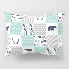 Camper antlers bears pattern minimal nursery basic navy mint white camping cabin chalet decor Pillow Sham