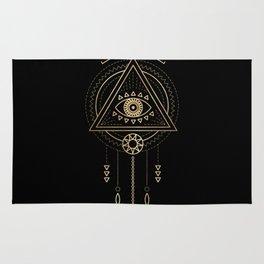 Mandala Tribal Eye Copper Bronze Gold Rug
