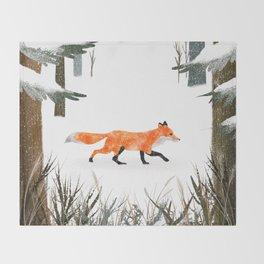 Fox In A Late Winter Snowfall Throw Blanket