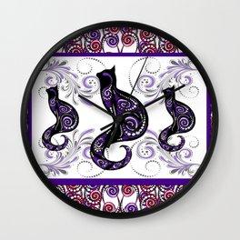 Swirly Cats Wall Clock