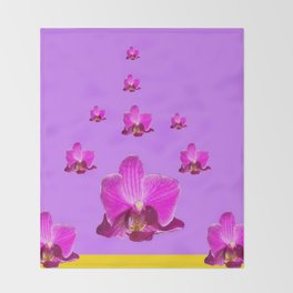 PURPLE ORCHID FLOWERS RAIN YELLOW ART Throw Blanket