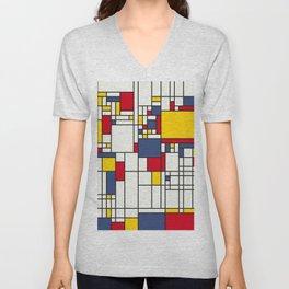 World Map Abstract Mondrian Style Unisex V-Neck