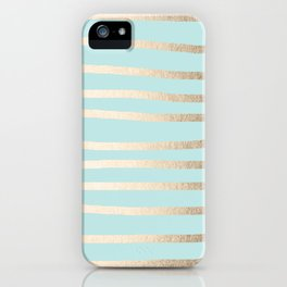 Simply Drawn Stripes White Gold Sands on Succulent Blue iPhone Case