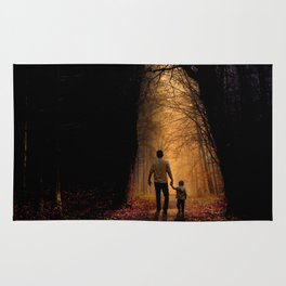 Father and Son in the Woods Rug