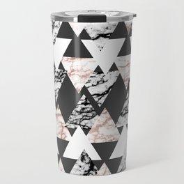 Modern Black White Rose Gold Marble Geo Triangles Travel Mug