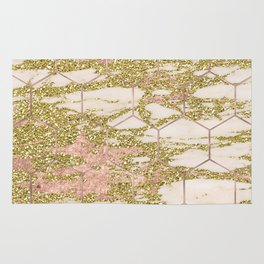 Dramatic rose gold and golden honeycomb Rug