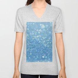 Sparkling Baby Sky Blue Glitter Effect Unisex V-Neck