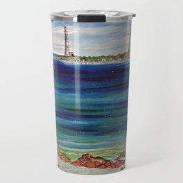 Thatcher island lighthouses on a peaceful day Travel Mug