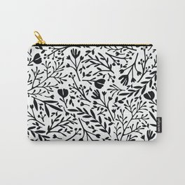 Scattered Flowers Black and White 2 Carry-All Pouch