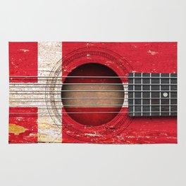 Old Vintage Acoustic Guitar with Danish Flag Rug