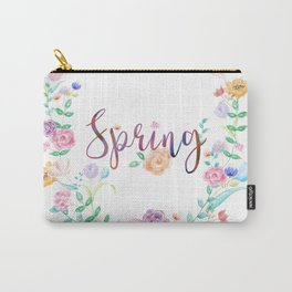 Watercolor Spring Floral Wreath Carry-All Pouch