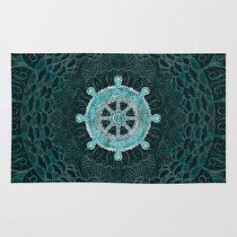 Dharma Wheel - Dharmachakra Silver and turquoise Rug