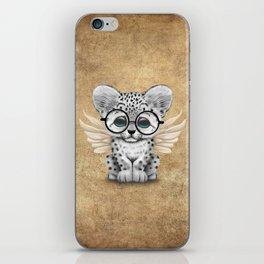 Snow Leopard Cub Fairy Wearing Glasses iPhone Skin