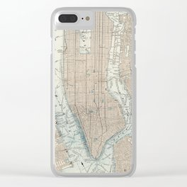 Vintage Map of New York City (1893) Clear iPhone Case