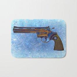 Colt Python 357 Magnum on Blue Back Ground Bath Mat