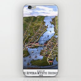MYSTIC RIVER CONNECTICUT city old map Father Day art print iPhone Skin