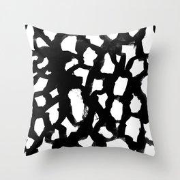 Rosanthe - modern minimal black and white painting brushstrokes free spirit boho urban city pattern Throw Pillow