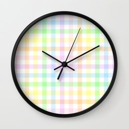 Rainbow Gingham Wall Clock