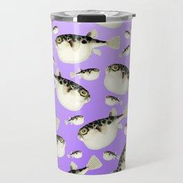 Puffer Fish Violet Purple Pattern Travel Mug