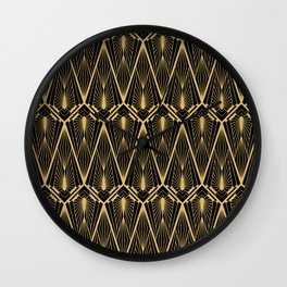 Art Deco Squares and Diamonds of Gold Wall Clock