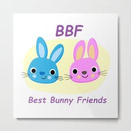 BBF Best Bunny Friends Metal Print