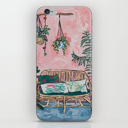 Rattan Bench in Painterly Pink Jungle Room iPhone Skin
