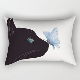 Cat and Butterfly Rectangular Pillow