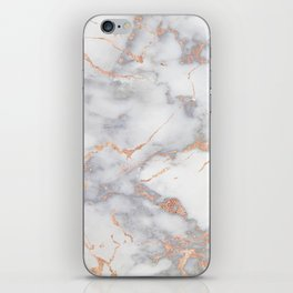 Grey Marble Rosegold  Pink Metallic Foil Style iPhone Skin