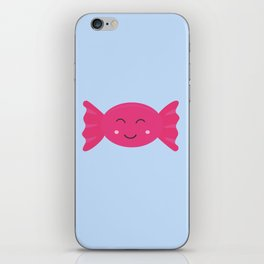 Pink candy bonbon with smile iPhone Skin
