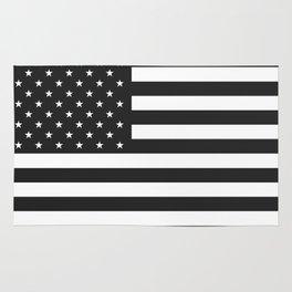American Flag Stars and Stripes Black White Rug