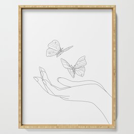 Butterflies on the Palm of the Hand Serving Tray
