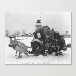 Santa and His Turkey Reindeer Canvas Print