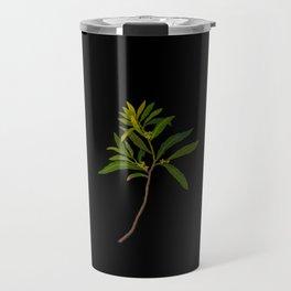 Ilex Angustifolia Mary Delany Vintage Floral Collage Botanical Flowers Black Background Travel Mug