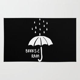 Books and Rain - Black and White (Inverted) Rug