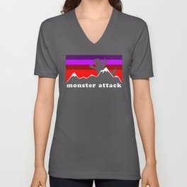 Monster Attack Outdoors Parody With Dinosaur Unisex V-Neck