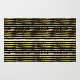 Gold and black stripes minimal modern painted abstract painting minimalist decor nursery Rug