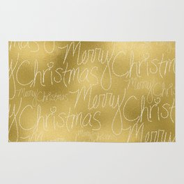 Merry christmas- christmas typography on gold pattern Rug