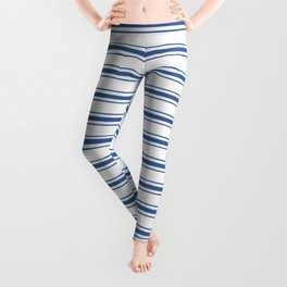 Mattress Ticking Wide Horizontal Stripe in Dark Blue and White Leggings