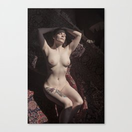 Nude woman with Tattoo and piercing Canvas Print