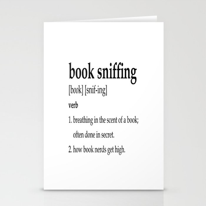 book sniffing definition stationery cards by