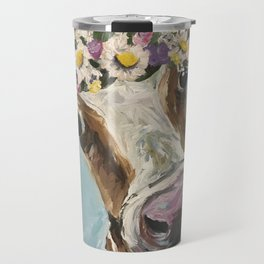 Flower Crown Cow Art, Cute Cow With Flower Crown Travel Mug
