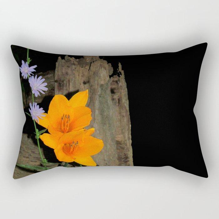 Orange Daylily and Chicory Rectangular Pillow