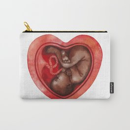 Watercolor fetus inside the heart shaped Carry-All Pouch