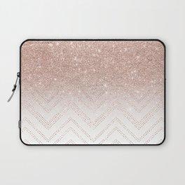 Modern faux rose gold glitter ombre modern chevron stitches pattern Laptop Sleeve