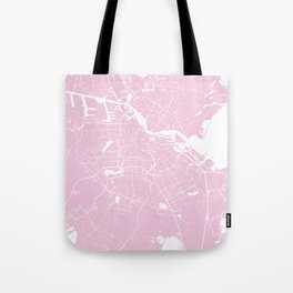 Amsterdam Pink on White Street Map Tote Bag