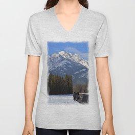"""Banff Wolf in Winter with Mt Cascade"" Unisex V-Neck"